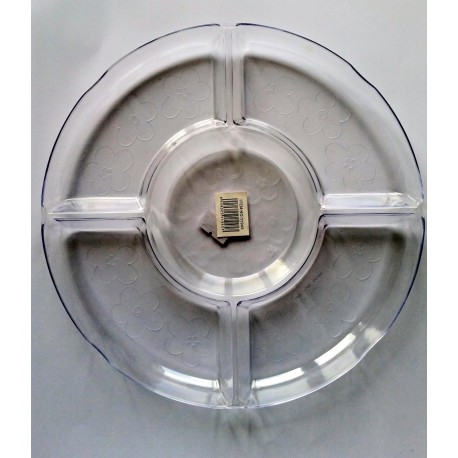 צלחת הגשה 4 תאים פלסטיק