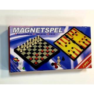קופסת משחק משולבת - שחמט, שש-בש ודמקה