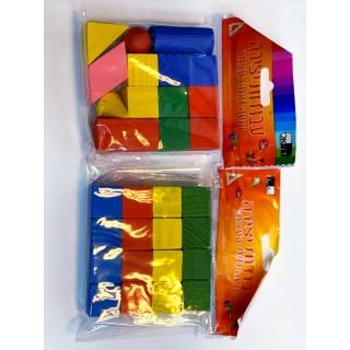 קוביות עץ צבעוני 16 יחידות